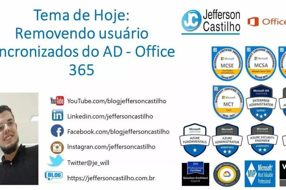 Removendo usuário sincronizados do AD - Office 365