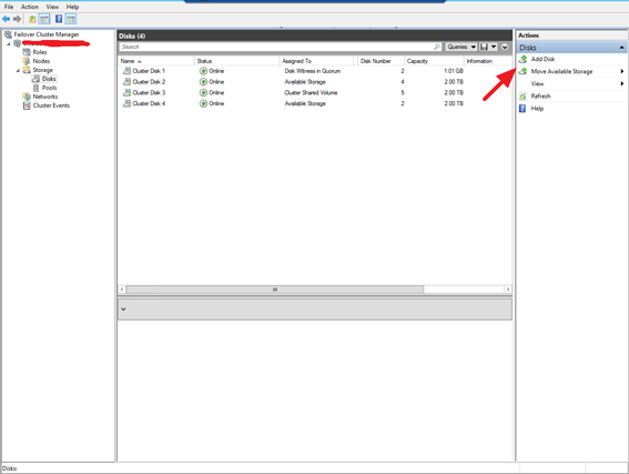 Adicionando um disco novo no Cluster no Windows Server 2012R2