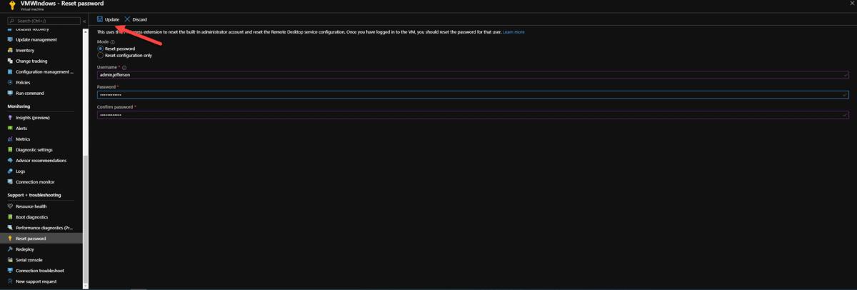 Reset de senha de user na Vm no Azure