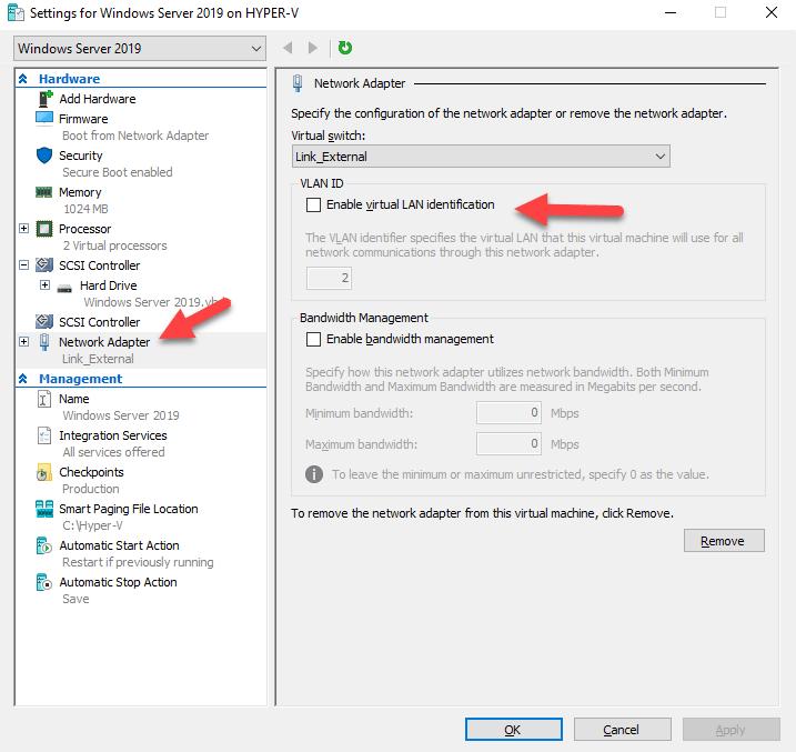 Configurando Vlan Id no Hyper-V 2019