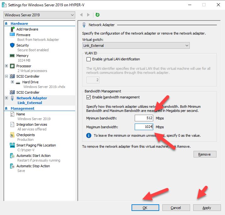 Configurando Bandwidth no Hyper-V 2019