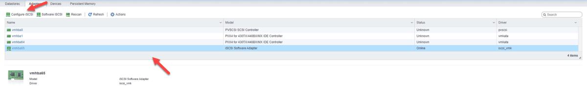 Adicionando um disco ISCSI no VMware ESXI 6.7