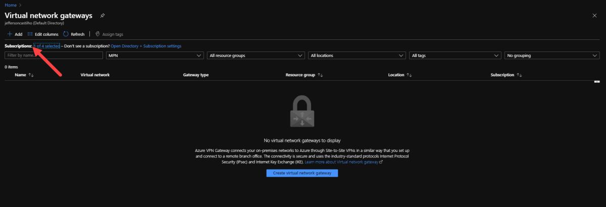 Criando um Virtual Network Gateway no Azure