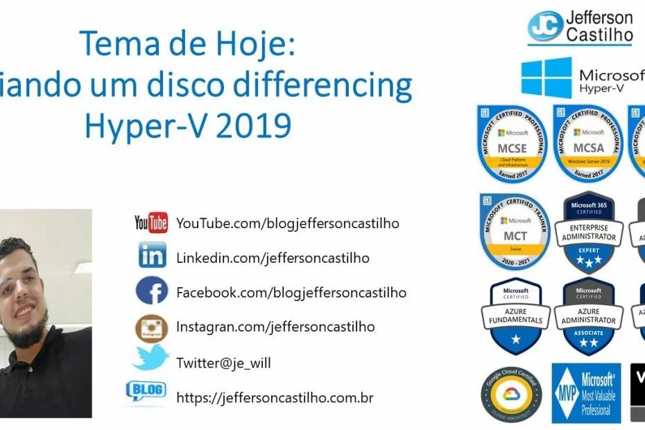 Criando um disco differencing Hyper-V 2019