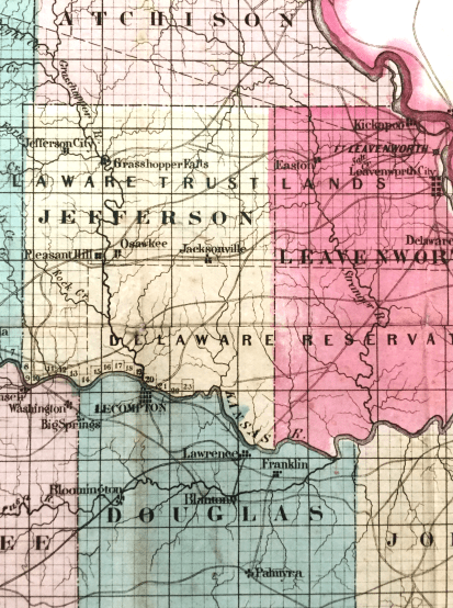 Sectional Map of the Territory of Kansas. Published by John Halsall in 1857.