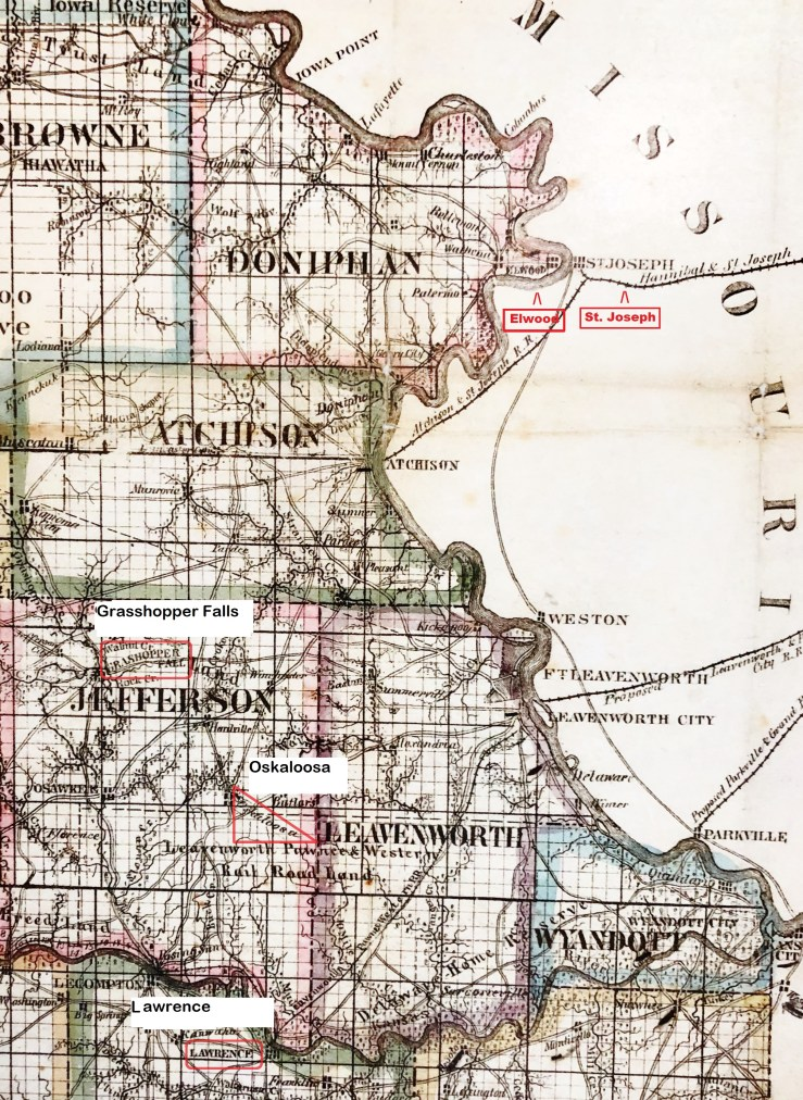 Elwood, Gunn and Mitchell's New Map of Kansas and the Gold Mines (up to 1862)
