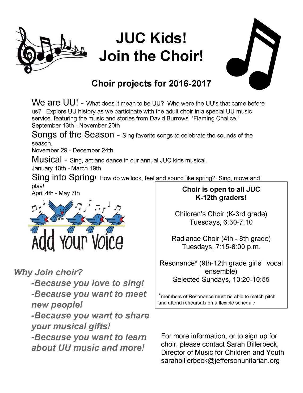 JUC Kids!  Join the Choir! 2016-2017-2