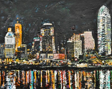 Cincinnati Skyline   Acrylic on Canvas ~SOLD