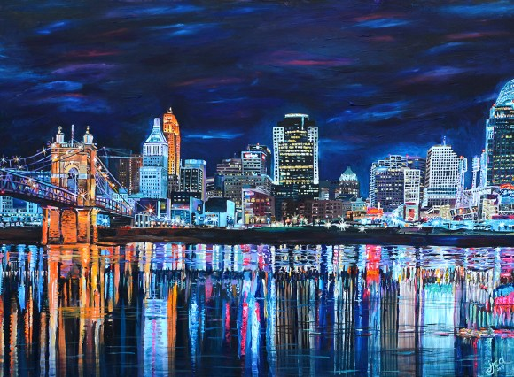 "Cincinnati Skyline   36"" x 48"" acrylic on canvas ~ SOLD"
