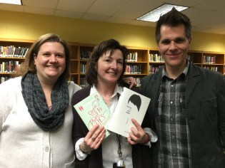 Author Sandy Hall, Librarian Kim Dare, and Me