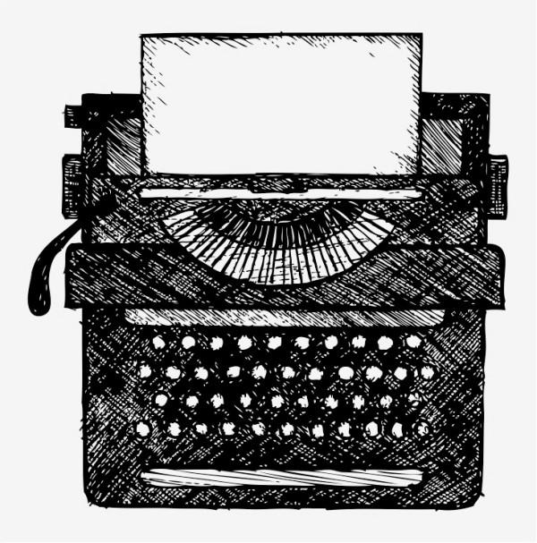line drawing of typewriter