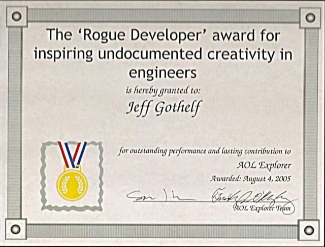 """The award I got for """"inspiring"""" off-spec feature development"""