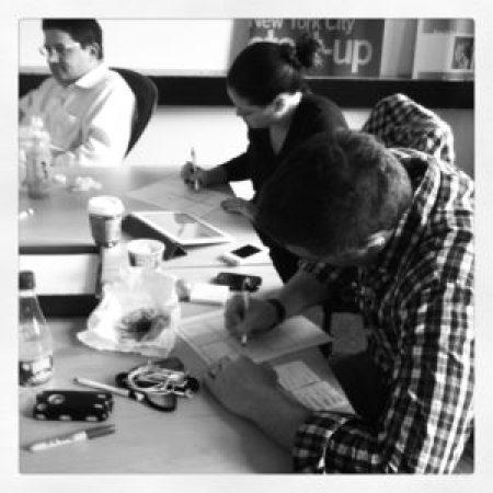 Sketching at design studio