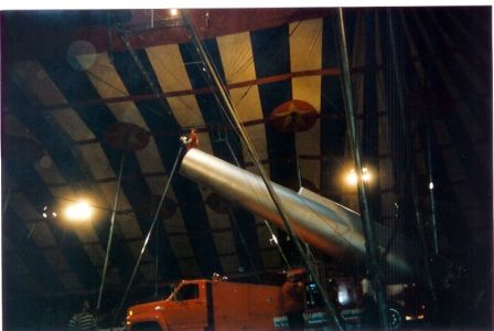 The human cannonball as he enters the cannon.
