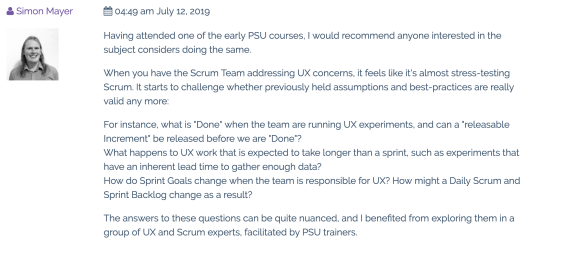review of the professional scrum with ux course