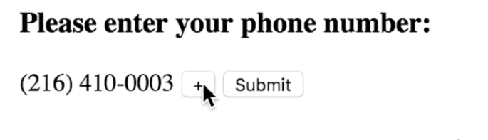 Enter a phone number with the plus button