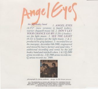 Angel Eyes - CD single - back