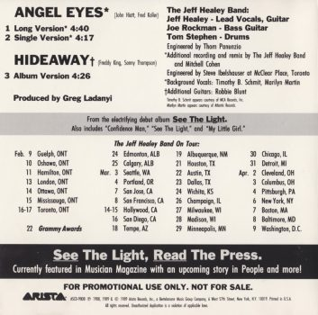 Angel Eyes promo CD - back