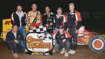 """""""The Jeffer"""" and the Reclamation crew celebrate a win at the Albany-Saratoga Speedway."""