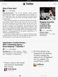 A Twitter page in Flipboard