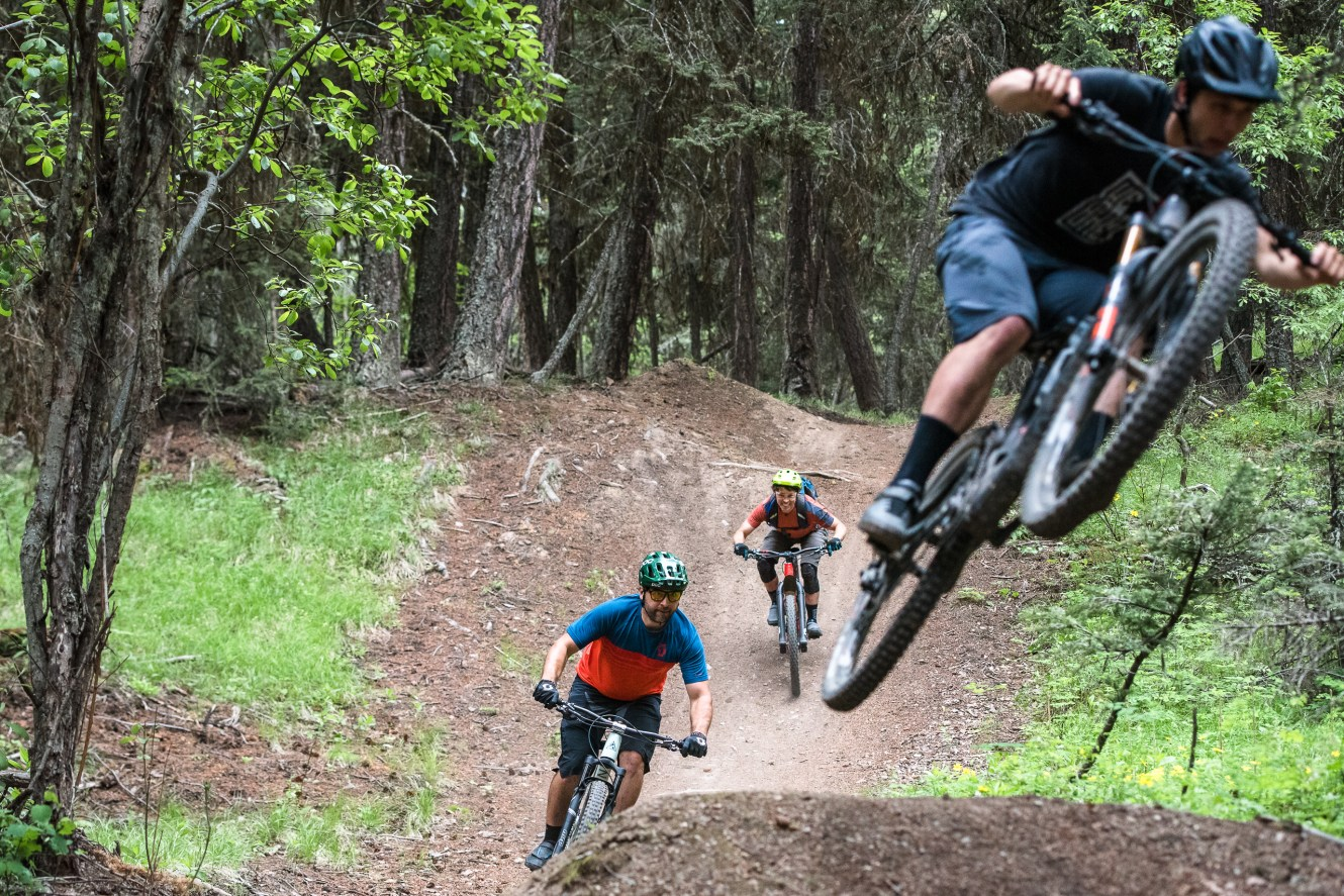 Mountain bikers riding together in Canada