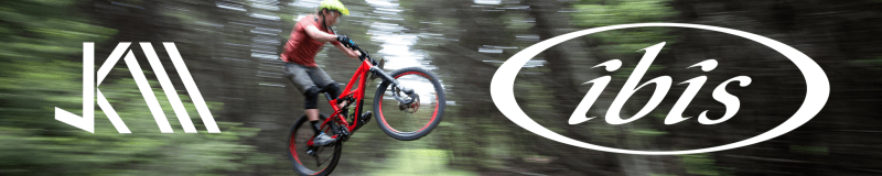 An advertisement for the Ibis Bicycles and Jeff Kendall-Weed partnership