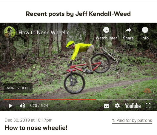 Screenshot of Jeff doing a nose wheelie for this Patreon riding tutorial