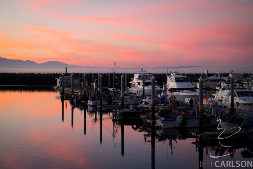 A colorful sunset at Shilshole Marina in Seattle.