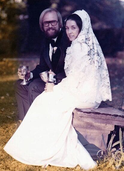 Frank and Natilee on their groovy wedding day, circa 1974