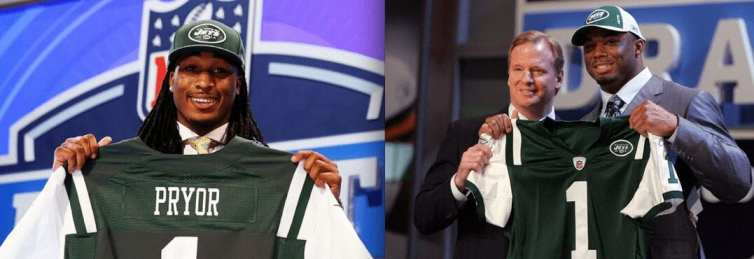 Jets fans can only hope their new safety (left) doesn't follow the career path of Vernon Gholston, the 2008 mega-bust.
