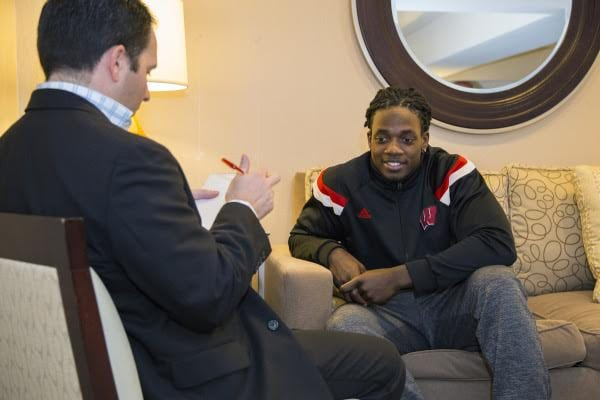 Jerry with former Wisconsin star Melvin Gordon.