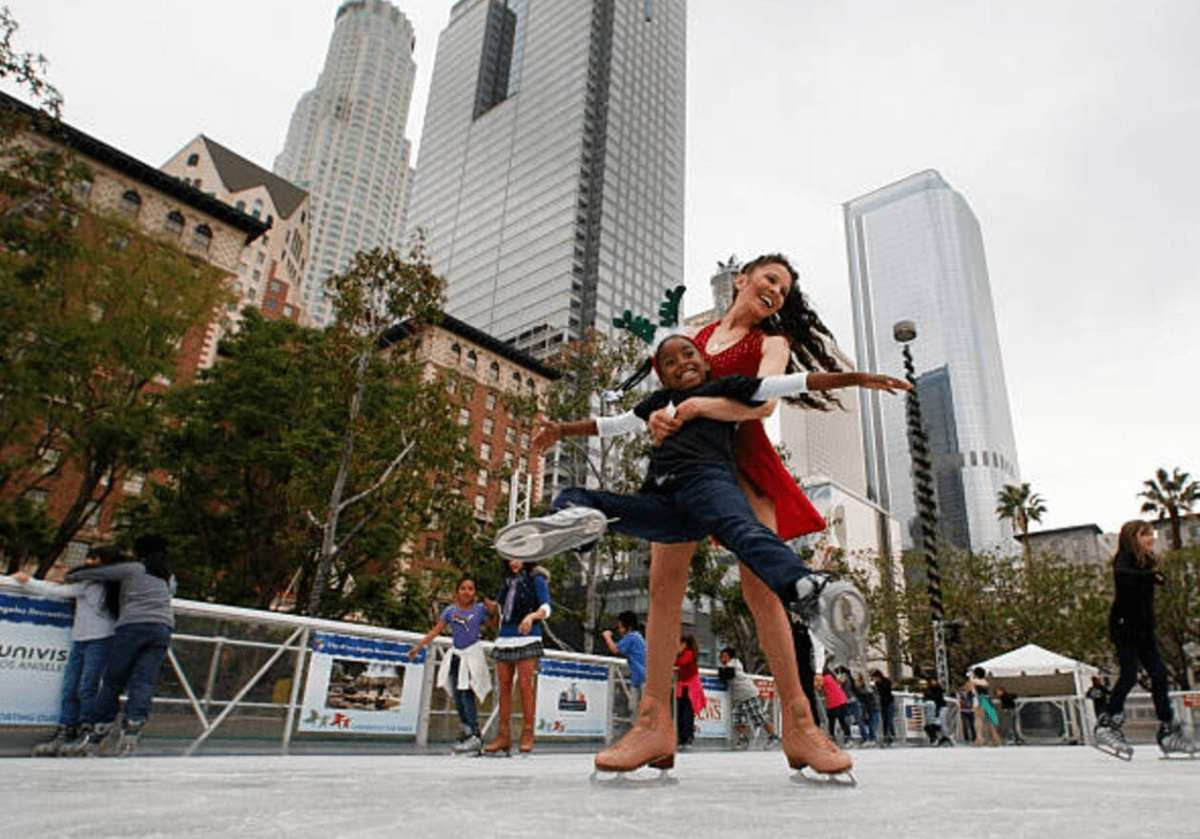 Back in 2012 with Measia Aaron at the Downtown On Ice outdoor skating rink at Pershing Square.