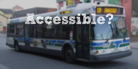 """Picture of an LTC bus with the words """"Accessible"""" written above"""