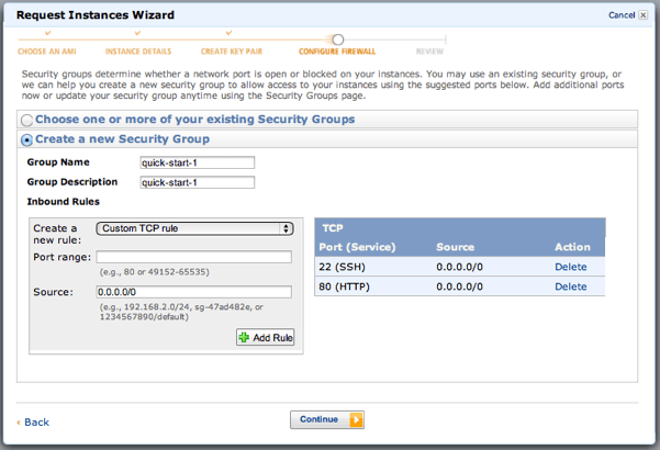 Set inbound rules for security group firewall