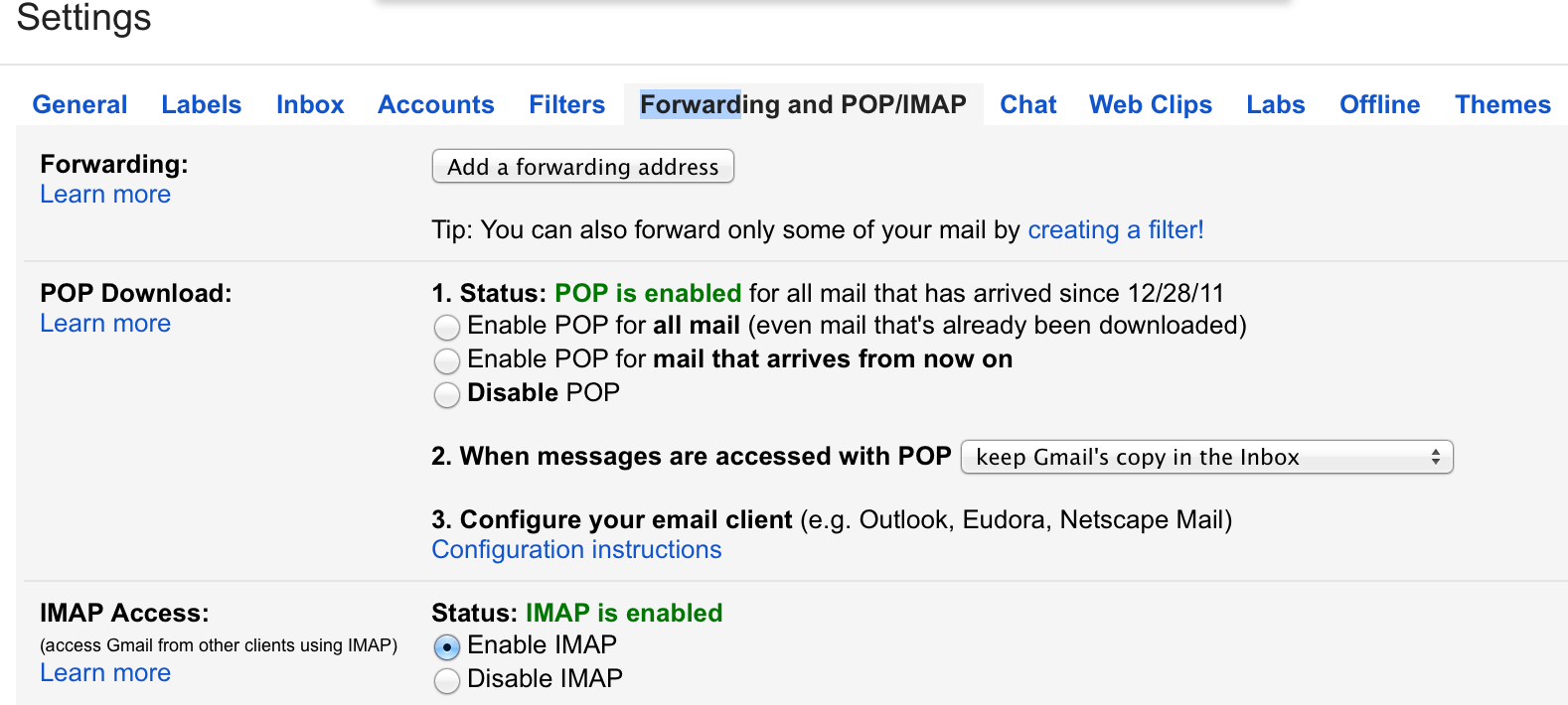 Themes in gmail settings - Enable Imap In Your Gmail Settings