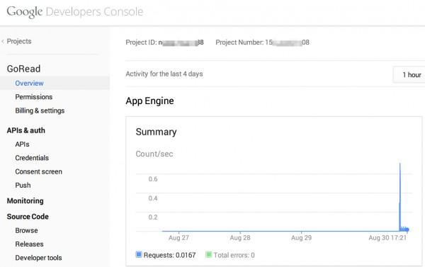Google Developers Console for AppEngine