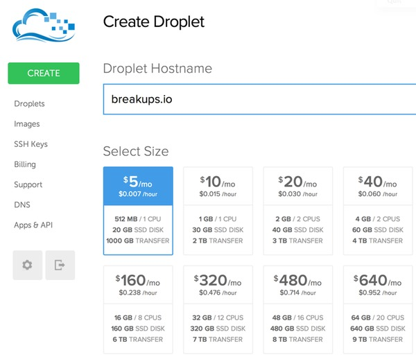 Create Your Droplet