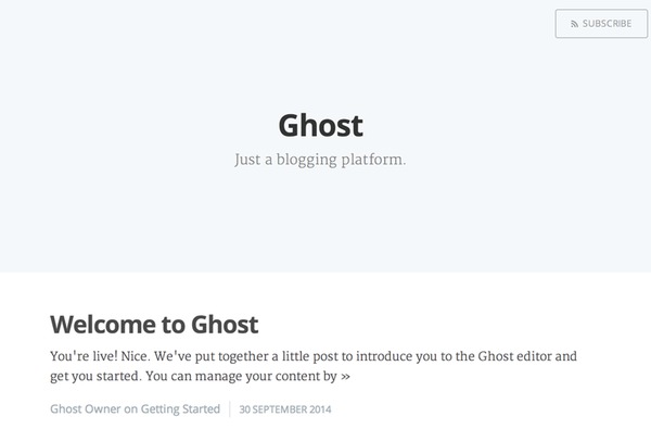 Ghost Blogging Home Page