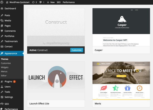 Themes included in the self-host WordPress Quickstart