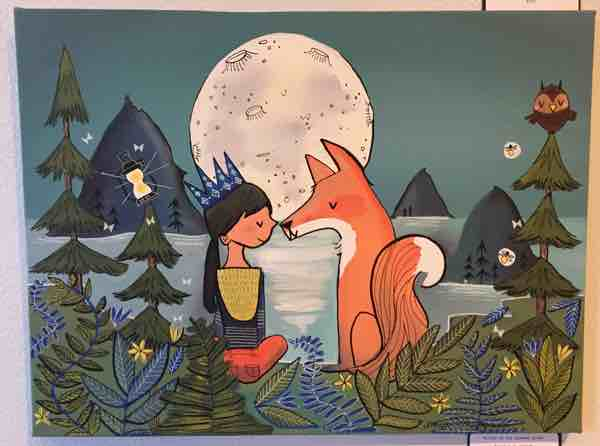 Girl and Fox and Moon Megan Marie Myers