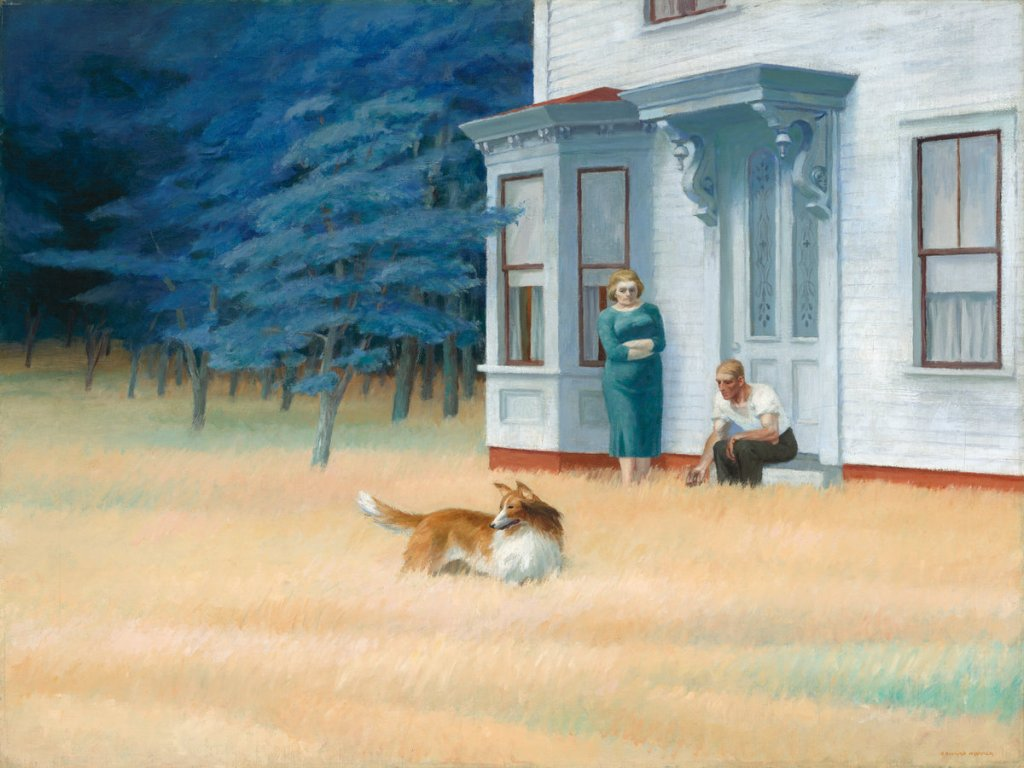 Cape Cod Evening, a painting by Edward Hopper, shows a collie standing in the middle of a field being beckoned by a man sitting on the front step of a house. A woman stands nearby with her arms crossed.