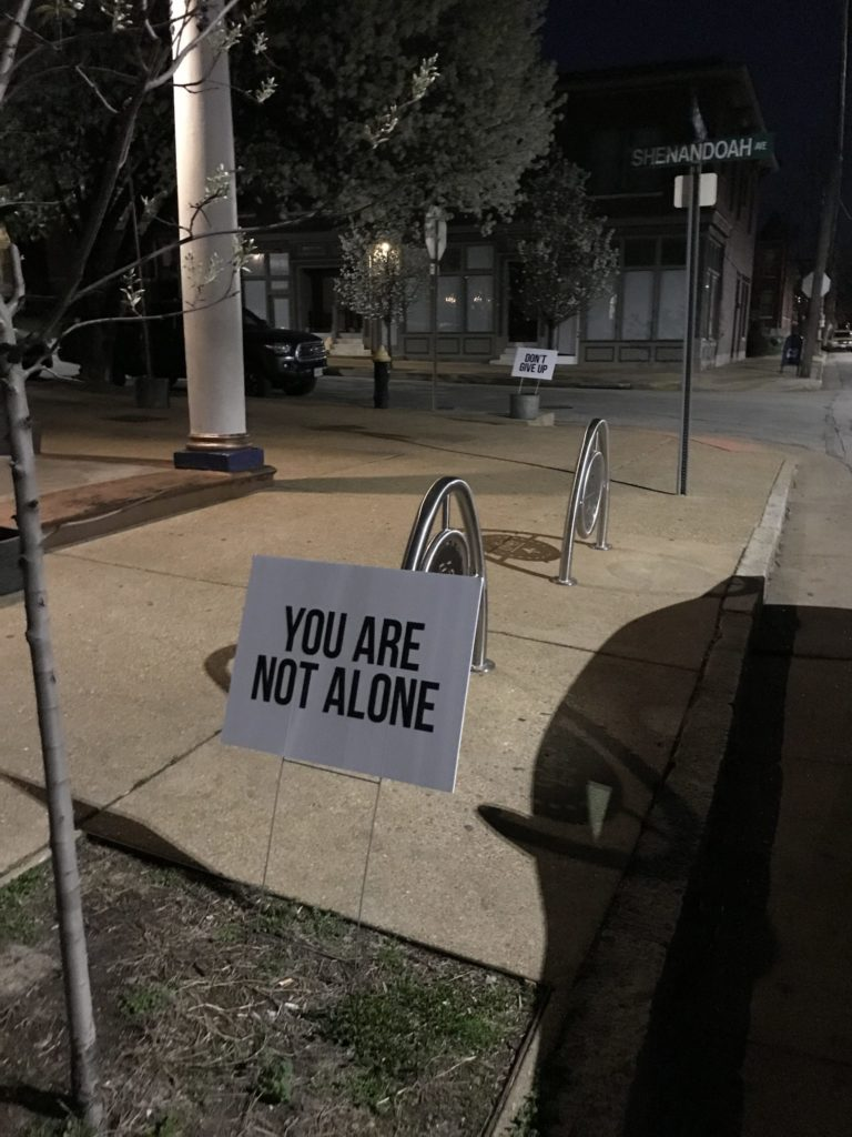 "photo of two yard signs that say ""You Are Not Alone"" and ""Don't Give Up"""