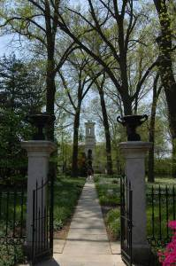 The entrance to the mausoleum grounds at Missouri Botanical Garden, St. Louis.