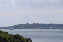 Falmouth Castle in the far distance, guarding the entrance to the river -- a primary Cornwall defense.