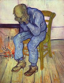 """Painting by Vincent van Gogh (1853–1890) entitled """"At Eternity's Gate"""" May 1890, oil on canvas in the Kröller-Müller Museum. Courtesy of wikimedia commons."""