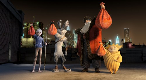 [From left] Jack Frost (Chris Pine), Bunnymund (Hugh Jackman), North (Alec Baldwin) and Sandman show off their holiday loot.