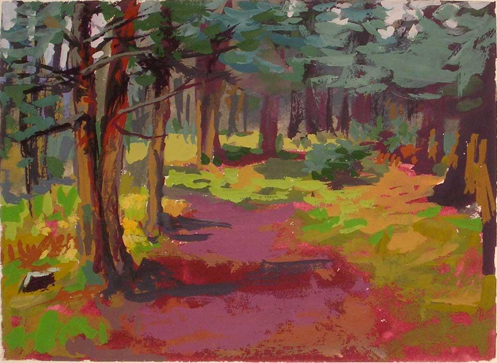 Trail Under the Pine Trees | gouache landscape painting