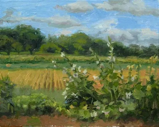 "Hollyhocks and Crop Fields, 8x10"", oil on panel by Jeffrey Smith"