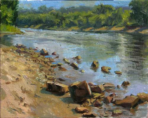 Mississippi River Rocks in Full Sun | plein air painting to last the whole winter