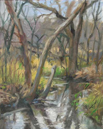 Late Fall Marsh | plein air painting on the edge of a wetland and the edge of a season